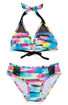Gossip+Girl+'Rainbow+Checkers'+Two-Piece+Swimsuit+(Big+Girls)+available+at+#Nordstrom