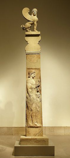 Marble stele (grave marker) of a youth and little girl with capital and finial in the form of a sphinx  Period: Archaic Date: ca. 530 B.C. Culture: Greek, Attic Medium: Marble Dimensions: total H. 13 ft. 10 11/16 in. (423.4 cm) Classification: Stone Sculpture