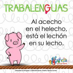 #DestrabatuLengua Trabalenguas divertidos para niños. Everything Will Be Ok, Tongue Twisters, Baby Learning, Riddles, Kids Playing, Verses, Acting, Homeschool, Poems