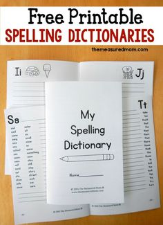 Your kids will enjoy working on their spelling with these free printable spelling dictionaries!