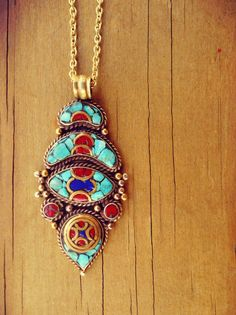 Stone statement pendant-Turquoise and coral by ZamarutJewel