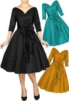 Retro 1950s V Neck Satin Sash Dress by Amber Middaugh