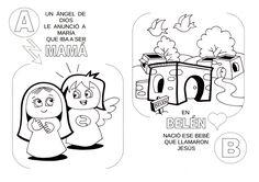 Laminas de La Biblia Para Colorear ,Imprimir y Recortar.: La historia de Jesús con letras (para los más chiq...