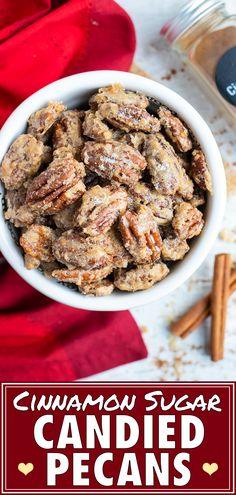 Candied Pecans are coated in a cinnamon sugar and then roasted in the oven until perfectly caramelized. Full of holiday flavors, these tasty spiced pecans make a great snack or dessert for a party. They also make the absolute BEST food gift to wrap up for a DIY Christmas gift #glutenfree #foodgift #candied #pecans #nuts #Christmas
