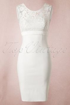 "What a stunner! This isn't just any dress... This 50s White Lace Bow Pencil Dress by Unique VIntage is pure elegance and style!You can wear this ivory coloured beauty to any special occasion and it would even be fabulous to wear it while saying ""I do"" to your husband-to-be! The sturdy yet stretchy cotton ensures a nice fit and hugs your curves in all the right ways. The dress has a high closed neckline with lace and an elegant, yet sexy low back, oh la la! Finished off with a h..."