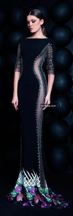 Evening gown, couture, evening dresses, formal and elegant Nicolas Jebran Spring Summer 2013 Haute Couture #black