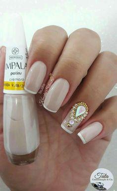 89 models of bare nails with jewels Great Nails, Fabulous Nails, Perfect Nails, Cute Nails, Nail Art Designs, Pretty Nail Designs, Hair And Nails, My Nails, Ongles Or Rose