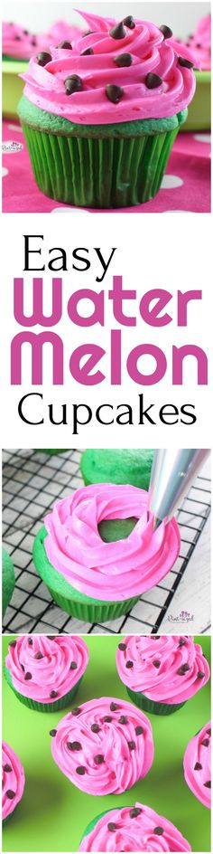 "Adorable watermelon cupcakes that are bursting with the bright colors of watermelons! Mini chocolate chips are added to create the perfect ""watermelon seed."" Enjoy this simple watermelon cupcake recipe that's perfect for a super-cute treat!"