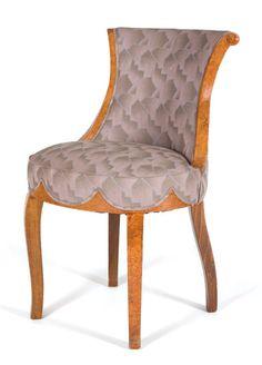 French Art Deco Burl-Walnut Boudoir Chair / Maurice Dufrene / circa 1930