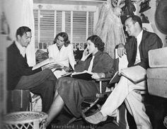 "William Powell, Florence Rice, Myrna Loy, and director Richard Thorpe on the trailer ser of ""Double Wedding""."