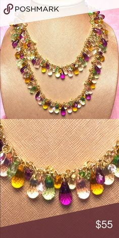 Faceted crystal droplet necklace Absolutely gorgeous gold chain necklace fully covered in sparkling faceted droplets in  colors of purple, pink, green, gold, and clear. This goes with literally everything.   (Sorry no earrings. Lost at a party.). This can be doubled up or worn in its natural extra long length. Superior condition. Quite heavy as they are NOT plastic, but all glass beads. Terrific sparkle under candlelight or party lights. Everyone wanted to borrow this one! Jewelry Necklaces