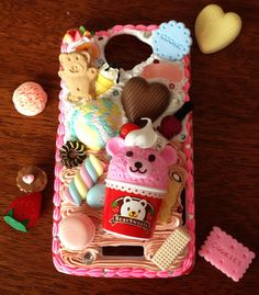 HTC One Bear & Sweets Deco cream phone case by CumaiSweetDeco, $45.00