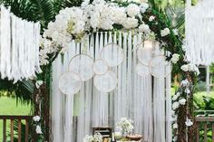 Weddings in Pictures: From This Day Forth And Forevermore Ethereal white floral wedding arch with lace dream catchers and tassels! More wedding inspiration here: From This Day Forth and Wedding Altar Decorations, Wedding Altars, Wedding Themes, Boho Wedding, Floral Wedding, Rustic Wedding, Wedding Flowers, Dream Wedding, Wedding Arch Tulle