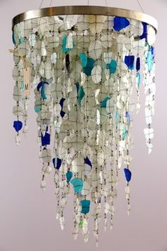 Recycled Sea Glass lighting eclectic chandeliers