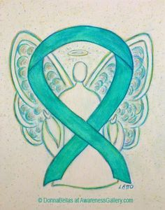 The teal green ribbon supports Agoraphobia, Anxiety Disorder, Dissociative Identity Disorder, Food Allergies, Fragile X Syndrome, Myasthenia Gravis, Obsessive-Compulsive Disorder, Ovarian Cancer, Cervical Cancer, Uterine Cancer, Panic or Stress Disorders (PTSD), Polycystic Ovarian Syndrome, Polycystic Kidney Disease, Sexual Abuse, Sexual Assault, Substance Abuse, Batten Disease, and Tourette's Syndrome (TSA).