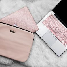 Save OVER 15% when you bundle the Laptop sleeve, Macbook Case, and keyboard cover together. + Includes: Blush Pink Laptop Sleeve, Leather Rose Gold Glitter Macbook Case, Rose Gold Keyboard cover