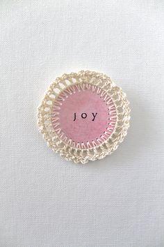JOY Crochet Scrapbooking Embellishments PINK by creativecarmelina, $3.50