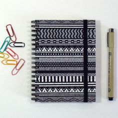Spiral Bound Ethnic Black by LouiseMachadoDesigns on Etsy, #etsy #louisemachado #notebook #spiralbound #sketchbook #tribal #ethnic #pattern #print #exclusive