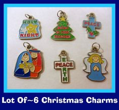 This Auction Is For-6-Adorable Christmas Assorted Charms Are Metal And Have A Enamel Coating. They measure approximately 1/2 to 3/4   inches in size. They make pretty embellishments for cropping projects. Add these accents to your jewelry projects! Attach to your Christmas Cards and to your scrapbook