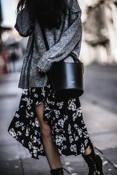 SWEATER OVER DRESS – Belle Melange floral maxi dress- floral skirt- floral dress- dark floral- grey sweater- grey knit