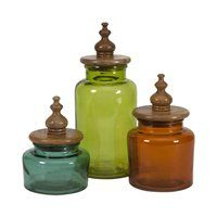 71723-3 Saburo Glass and Wood Lid Canisters - Set of 3