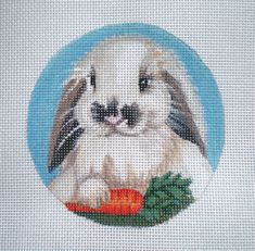Handpainted Flopped eared Bunny and Carrot on 18ct. by colors1 (Craft Supplies & Tools, Sewing & Needlecraft Supplies, Canvas & Stitchables, easter, decoration, ornament, holiday, basket, cross stitch, embroidery, needlepoint, needlepoint canvas, needlecraft, needlepoint pattern, needlepoint pillow, needlepoint design)
