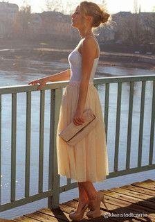 Layered Gauze Skirt - Nude - Doubled Layer Mesh Overlay