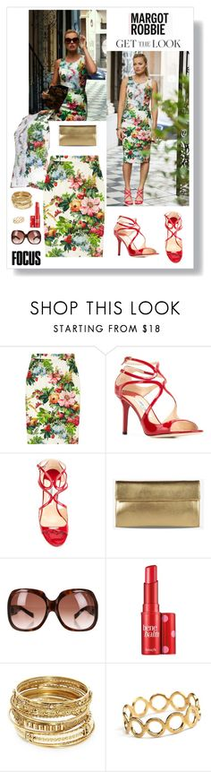 """""""Get the Look: Fave Aussie Actress! MARGOT ROBBIE"""" by helen5526 ❤ liked on Polyvore featuring Dolce&Gabbana, Jimmy Choo, Maison Margiela, Dsquared2, Benefit, ABS by Allen Schwartz and Pernille Corydon"""