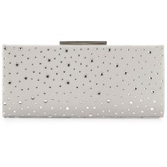 Badgley Mischka Beth Embellished Evening Clutch Bag ($315) ❤ liked on Polyvore featuring bags, handbags, clutches, silver, badgley mischka purses, badgley mischka, evening handbags, holiday purses and embellished purses