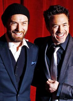 "Jude Law and Robert Downey Jr. promoting ""Sherlock Holmes: A Game of Shadows"" (2011)."