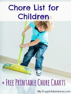 Chore chart for children with list of age appropriate chores