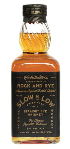 This blend of aged rye whiskeys is proudly produced in Pennsylvania! Hochstadter's Slow & Low Rock and Rye gets its distinct flavor profile from air-dried navel orange peels from Florida, raw local honey from western Pennsylvania and horehound. It's extra dry, with only five to six percent sugar. – Distiller's Notes