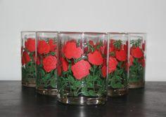Vintage Cera Rose rocks glasses (Set of 6) - Vintage glasses, drinkware, barware, flower glasses