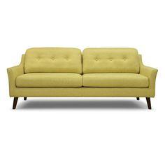 Low Retro sofa in sun fabric with walnut legs.