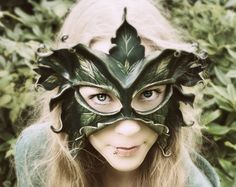 Sculpted Leather Mask - Lady Of The Leaves - Greenwoman, Dryad, Tree Spirit