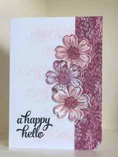 Touches of Texture stamp used in the background with Flower Shop blooms stamped onto a patterned paper from the Blooms and Bliss designer paper. Sentiment is from the Tin of Cards stamp set. Sweet Sugarplum ink has been used for stamping - created by Julia Jordan