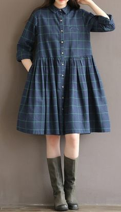 Women loose fit plus over size checkered pocket dress skater skirt long sleeve #unbranded