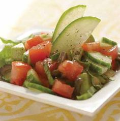 Nothing like summer on a plate. Tomato and Avocado Salad is tossed with cucumbers, basil and olives and topped with a simple homemade vinaigrette. Couldn't be simpler or more delicious.