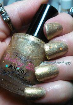 "Darling Diva polish;  ""Stripper Pole""  Lovely gold w/holo glitter!"