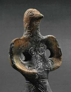 century BCE Head of the bird-like woman from the bird-drawn wagon Detail of and From Dupljaja, location Grad, Serbia Terracotta (c) Photograph by Erich Lessing Ancient Mysteries, Ancient Artifacts, Ancient Aliens, Ancient History, Ancient Goddesses, Arte Tribal, Mother Goddess, Bronze Age, Ancient Civilizations