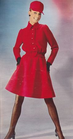 PATOU 1967 Red dress and matching cap late 60s day dress button front long sleeves designer casual secretary