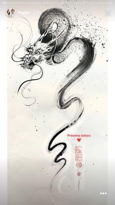 Arm Tattoo, Sleeve Tattoos, Bonsai Tattoo, Watercolor Dragon Tattoo, Brush Stroke Tattoo, Dragon Oriental, Dragon Illustration, Dragon Artwork, Neue Tattoos