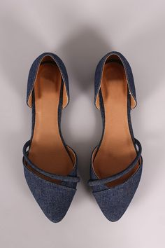 Qupid Denim Pointy Toe Dorsay Flat | UrbanOG
