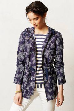 Anthropologie Sketchbook Anorak Size XS, Blue Floral Rain Jacket Coat By Hei Hei #HeiHei #BasicJacket