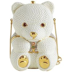 Pre-owned Judith Leiber Rdc6336 2000 & Gold Crystal Teddy Bear... ($2,985) ❤ liked on Polyvore featuring bags, handbags, clutches, white, white purse, judith leiber clutches, judith leiber purse, crystal minaudiere and gold handbags
