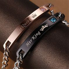 """Her King"" ""His Queen"" Romantic Couple Bracelets //Price: $9.95 & FREE Shipping //     }"