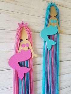 Hair Clip Storage, Headband Storage, Hair Clip Organizer, Mermaid Hair Accessories, Cotton Candy Hair, Mermaid Wall Art, Motifs Perler, Mermaid Crafts, Custom Bows