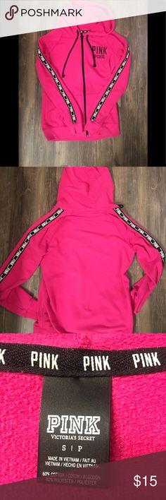 PINK zip hoodie PINK full zip hoodie sz small but runs big. Long torso. PINK Tops Sweatshirts & Hoodies