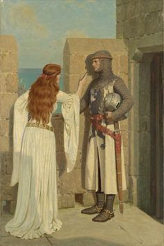 Edmund Blair The Shadow  circa 1909  young knight, departing for battle, has his profile traced on the wall by a fair maiden.