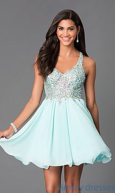 Shop short A-Line Beaded Racer-Back Dresses at SimplyDresses. Jewel encrusted sleeveless short prom dresses with racer backs for prom.